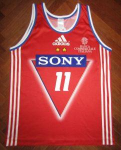 Olimpia Milano SONY 1998 – 1999 home jersey
