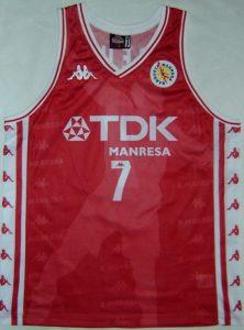 TDK Manresa 1997 – 1998 home  kit ACB champions