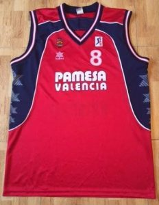 Pamesa Valencia Basket 2001 -02 away red jersey