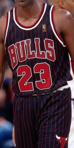 Chicago Bulls 1996 -97 pinstripes alternate jersey
