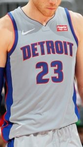 Detroit Pistons 2019 -20 alternate grey jersey