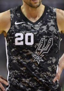 San Antonio Spurs 2017 -18 dark military jersey