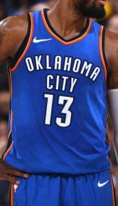 Oklahoma City Thunder 2018 -19 icon jersey