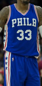Philadelphia 76ers 2016 -17 away jersey