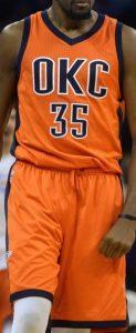 Oklahoma City Thunder 2015 -16 orange sunset jersey